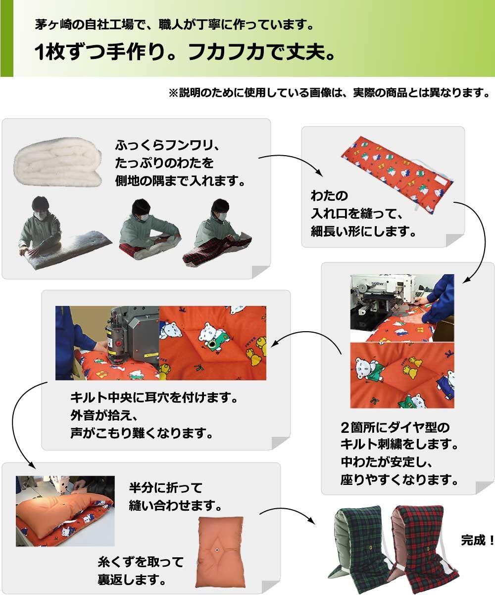 茅ヶ崎工場の職人が1枚ずつ手作りしています、丈夫で長持ち