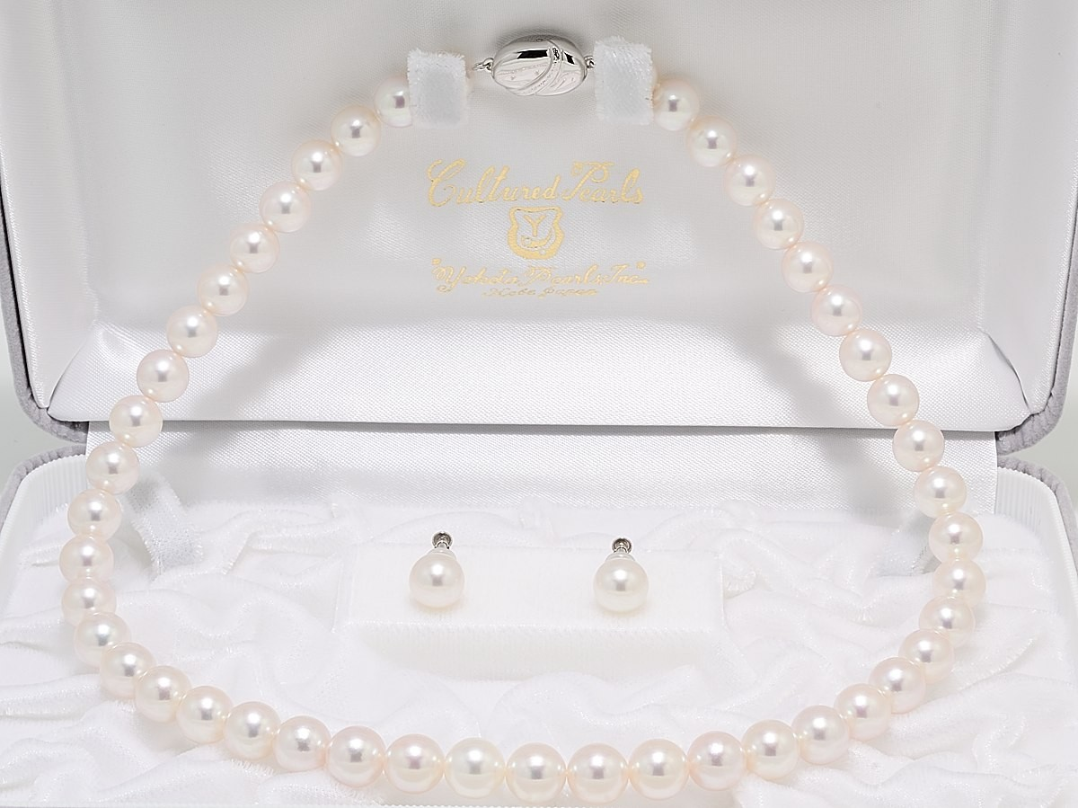 花珠鑑別書付きあこや真珠ネックレス8.5mm〜9.0mm2点セット