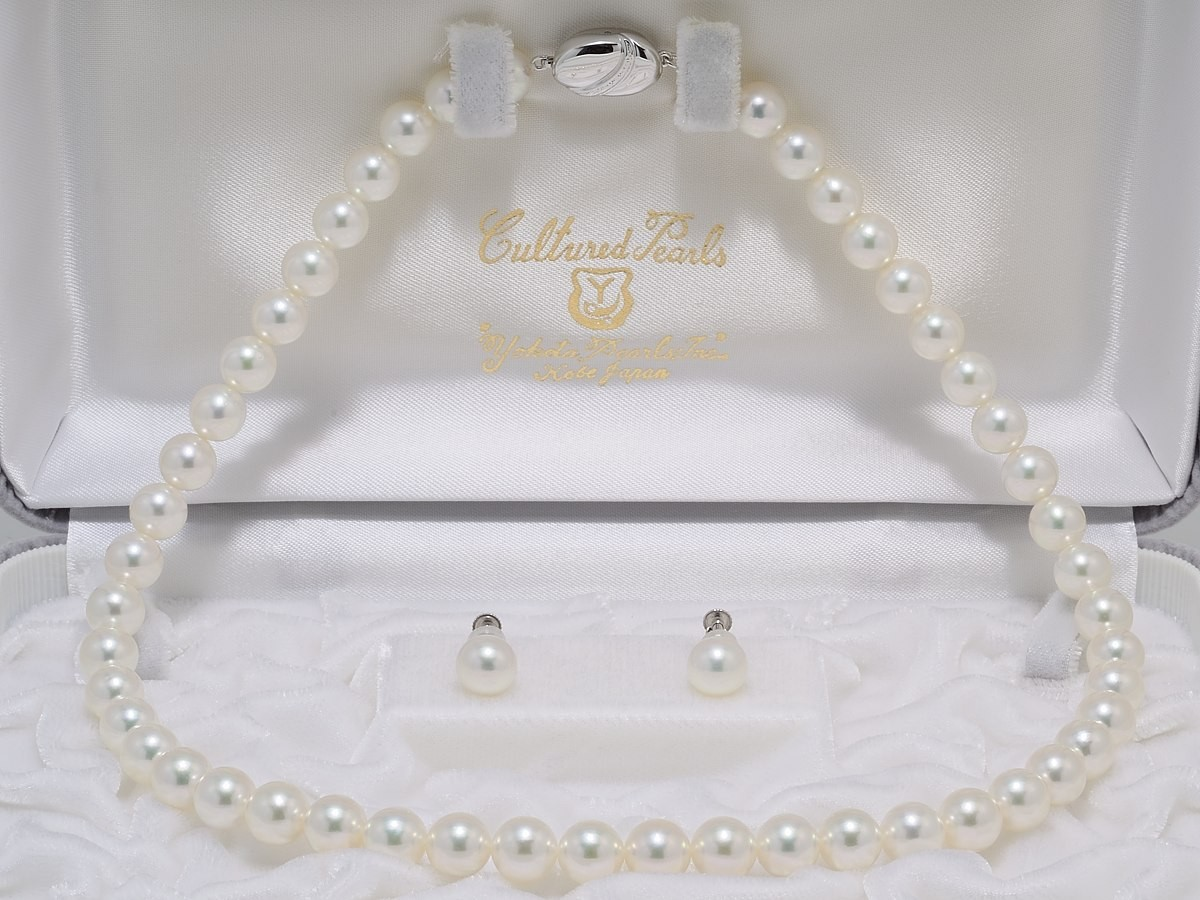 無調色オーロラ天女鑑別書付きあこや真珠ネックレス8.0mm〜8.5mm2点セット