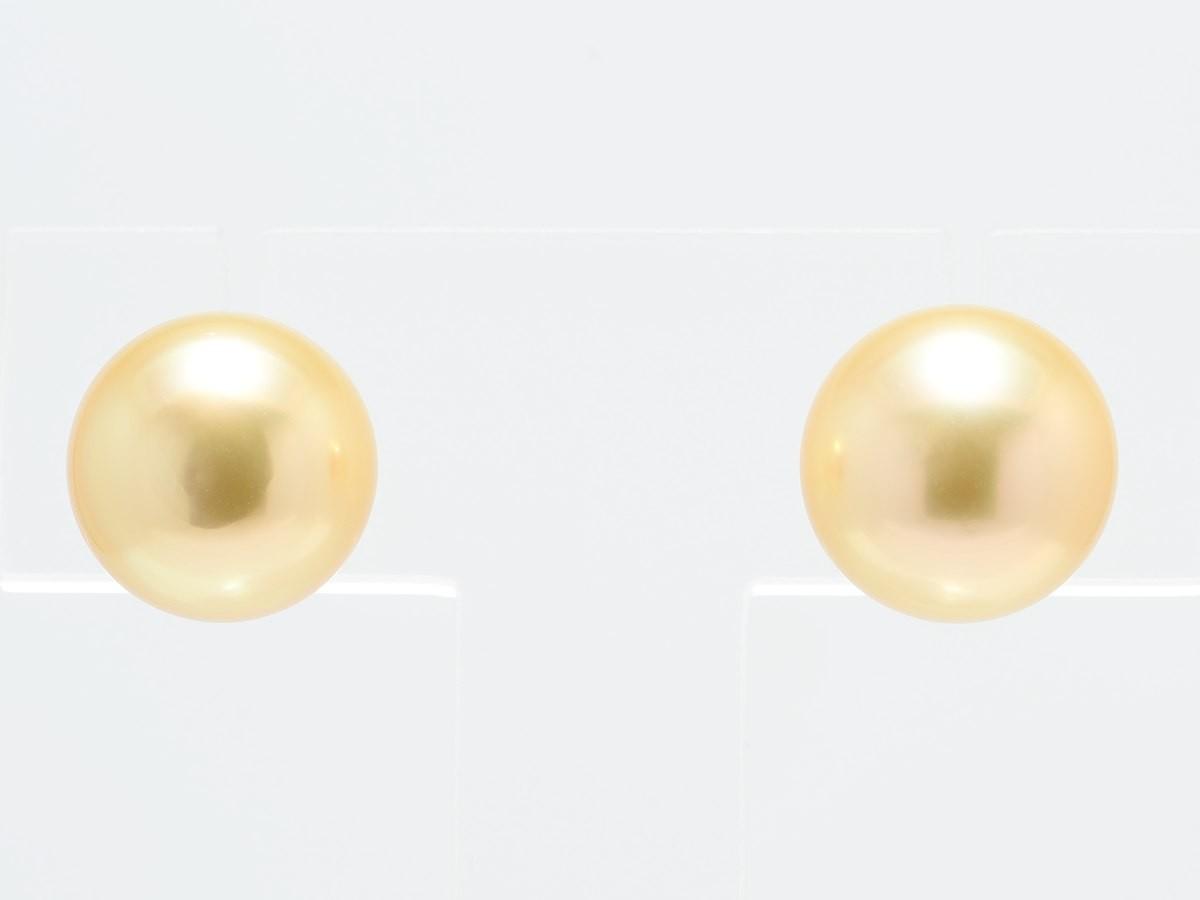 南洋白蝶真珠ナチュラルゴールド9mmピアス【本真珠専門店 ヨコタパール】