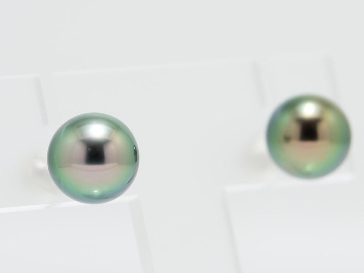 黒蝶真珠 ピーコックグリーン 10mmピアス