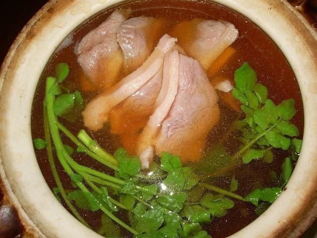 鴨肉とクレソンの鍋(失楽園)の米山鶏肉店