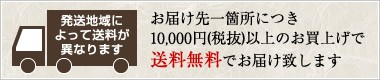 発送地域によって送料が異なります。お届け先一箇所につき10,000円(税抜)以上のお買上げで送料無料でお届け致します。