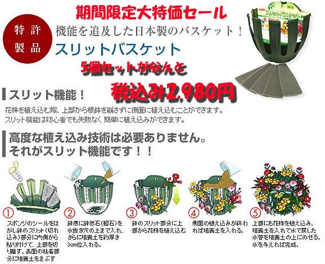 スリットタイプのハンギングです。簡単に花いっぱいのハンギングが作れます