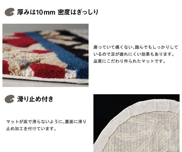 厚みは10mm密度はぎっしり 床暖房にも対応した滑り止め付き