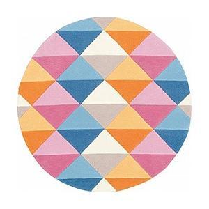 モダン 丸型ラグ prevell プレーベル フェル 【円形】 約140×140cm (グリーン/ピンク)|youai|06