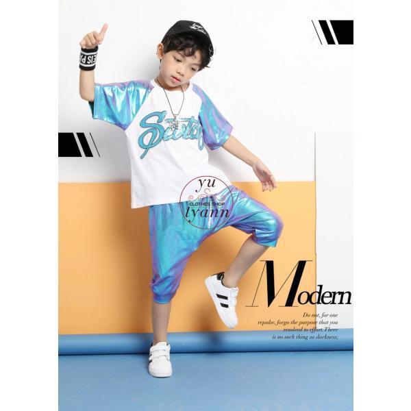 キッズ ダンス衣装 ヒップホップ HIPHOP ダンストップス 子供 男の子 セットアップ ジャズダンス パンツ 女の子 演出服 練習着 ステージ衣装|yu-tyann|14