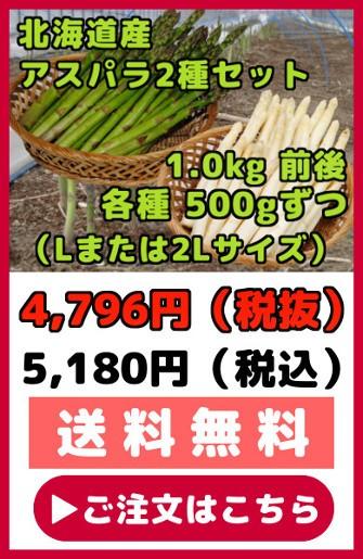 北海道産アスパラ2種セット【1.0kg前後】(Lまたは2Lサイズ・各500gずつ)