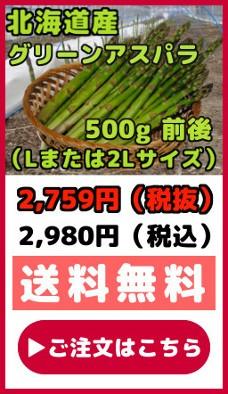 北海道産グリーンアスパラ【500g前後】(Lまたは2Lサイズ)