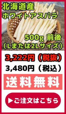 北海道産ホワイトアスパラ【500g前後】(Lまたは2Lサイズ)