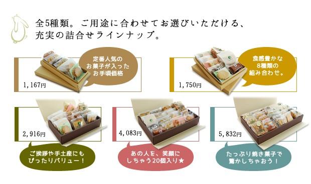 お茶の実の雪うさぎ工房焼き菓子箱詰め商品は全5種類