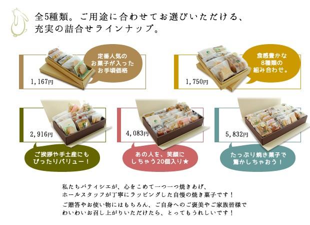 クッキー焼き菓子箱詰め合わせ商品一覧表