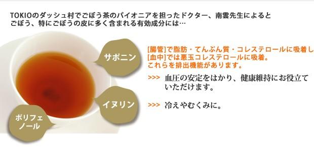 ごぼう茶 プレミアムごぼうの皮だけ茶 ごぼう茶のパイオニア南雲先生によると、ごぼうの皮に含まれるサポニンが血圧の安定をはかり、イヌリンがむくみや冷え症を改善するとしています。