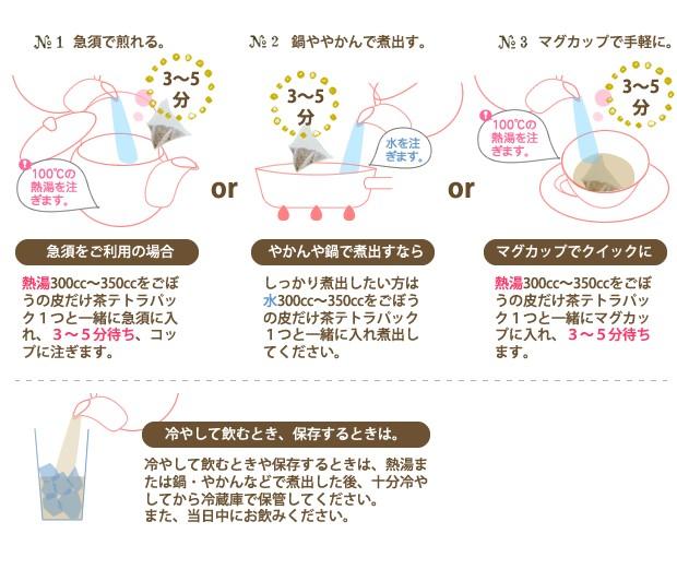 ごぼう茶 プレミアムごぼうの皮だけ茶 急須、やかんやなべでの煮出し、手軽なマグカップなど、お気軽にお飲みいただけるテトラパックを採用しています。