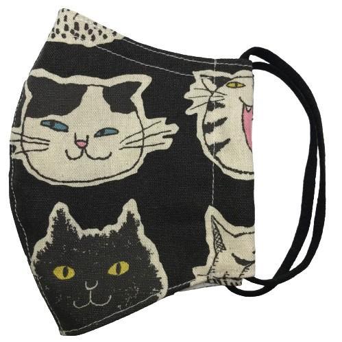 ネコ柄布マスク 裏側素材選択可。春夏用にはさらさらとしたメッシュ、秋冬用には肌触りも良いダブルガーゼ|yume-ribbon|21