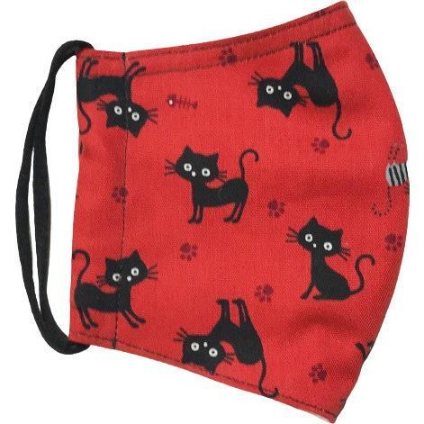 黒猫と足跡柄の布マスク。裏側素材選択可。春夏用にはさらさらとしたメッシュ、秋冬用には肌触りも良いダブルガーゼ|yume-ribbon|15
