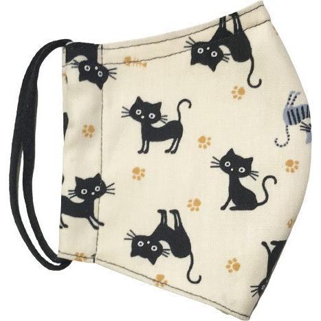 黒猫と足跡柄の布マスク。裏側素材選択可。春夏用にはさらさらとしたメッシュ、秋冬用には肌触りも良いダブルガーゼ|yume-ribbon|14