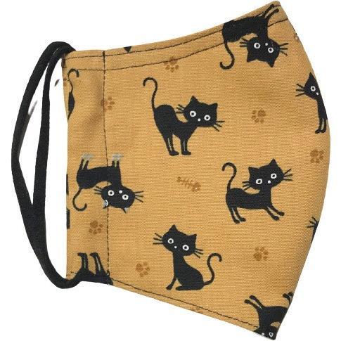 黒猫と足跡柄の布マスク。裏側素材選択可。春夏用にはさらさらとしたメッシュ、秋冬用には肌触りも良いダブルガーゼ|yume-ribbon|16