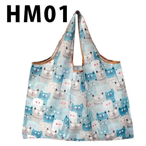 ねこ柄のエコバッグ Mサイズ お買い物や普段使いにも便利 お手頃サイズ、軽量で折りたたみ可能|yume-ribbon|11