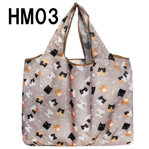 ねこ柄のエコバッグ Mサイズ お買い物や普段使いにも便利 お手頃サイズ、軽量で折りたたみ可能|yume-ribbon|13