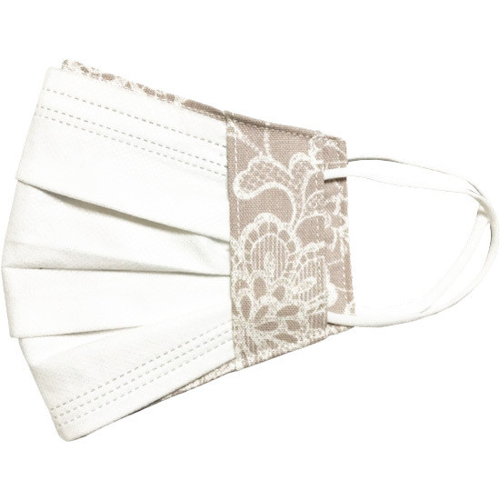 レース調プリント 布マスクカバー 不織布マスクがそのまま使える 繊細なタッチが美しいレース調のリアルなプリント   yume-ribbon 20