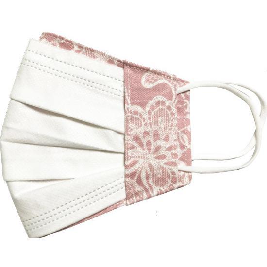 レース調プリント 布マスクカバー 不織布マスクがそのまま使える 繊細なタッチが美しいレース調のリアルなプリント   yume-ribbon 21
