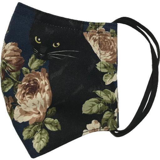 オールドローズと黒猫のアンティーク調布マスク コットンリネンキャンバス生地 日本製|yume-ribbon|13