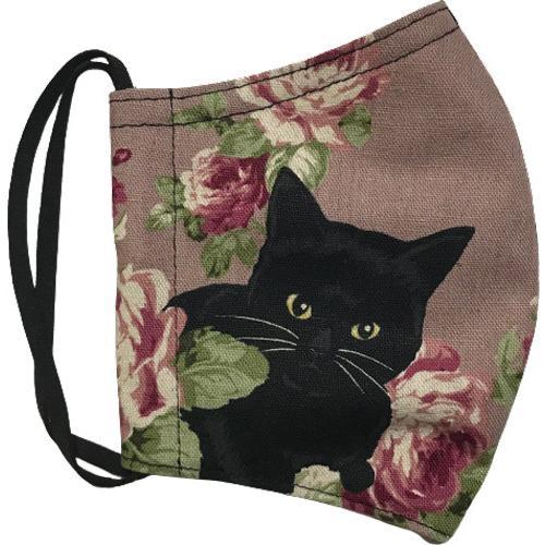 オールドローズと黒猫のアンティーク調布マスク コットンリネンキャンバス生地 日本製|yume-ribbon|11