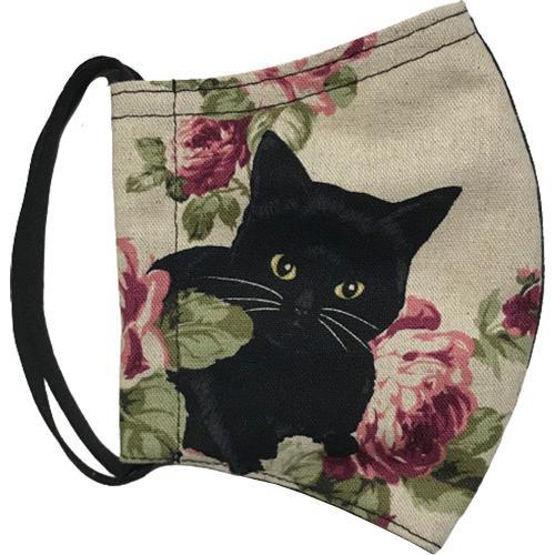オールドローズと黒猫のアンティーク調布マスク コットンリネンキャンバス生地 日本製|yume-ribbon|14