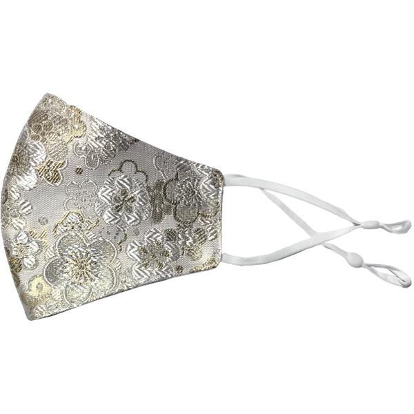 着物の帯のような金襴生地の立体マスク。金糸使いの豪華でおしゃれ、スリムタイプの布マスクです。ウエディング、コスプレ、舞台衣装、和装に。日本製|yume-ribbon|24