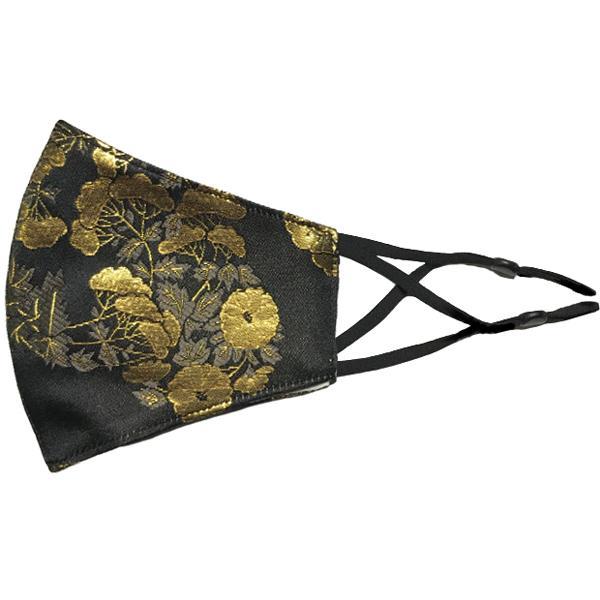 着物の帯のような金襴生地の立体マスク。金糸使いの豪華でおしゃれ、スリムタイプの布マスクです。ウエディング、コスプレ、舞台衣装、和装に。日本製|yume-ribbon|29