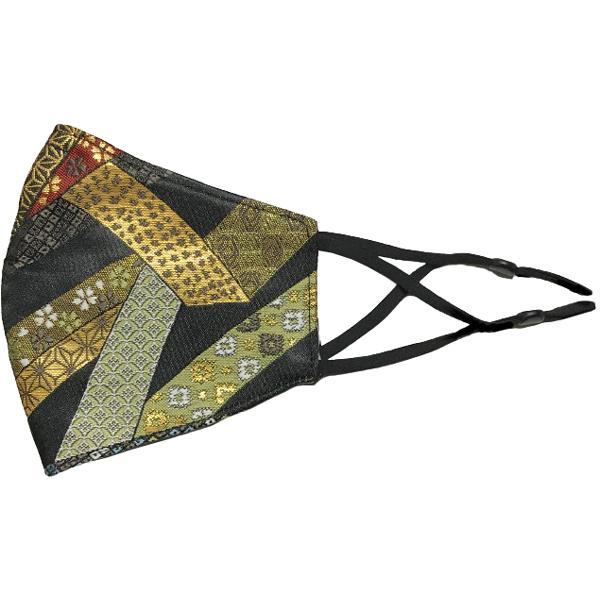 着物の帯のような金襴生地の立体マスク。金糸使いの豪華でおしゃれ、スリムタイプの布マスクです。ウエディング、コスプレ、舞台衣装、和装に。日本製|yume-ribbon|30