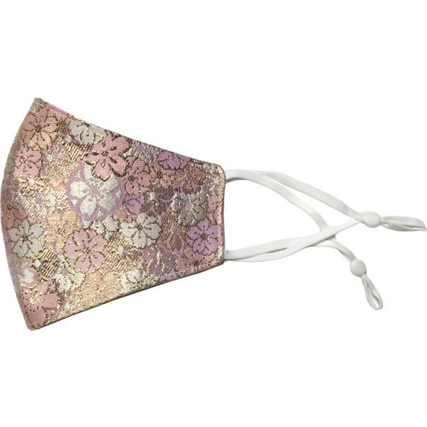 着物の帯のような金襴生地の立体マスク。金糸使いの豪華でおしゃれ、スリムタイプの布マスクです。ウエディング、コスプレ、舞台衣装、和装に。日本製|yume-ribbon|23