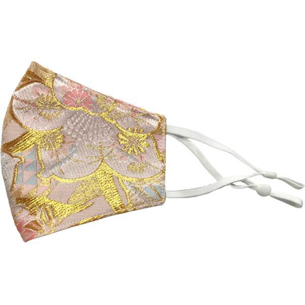 着物の帯のような金襴生地の立体マスク。金糸使いの豪華でおしゃれ、スリムタイプの布マスクです。ウエディング、コスプレ、舞台衣装、和装に。日本製|yume-ribbon|27