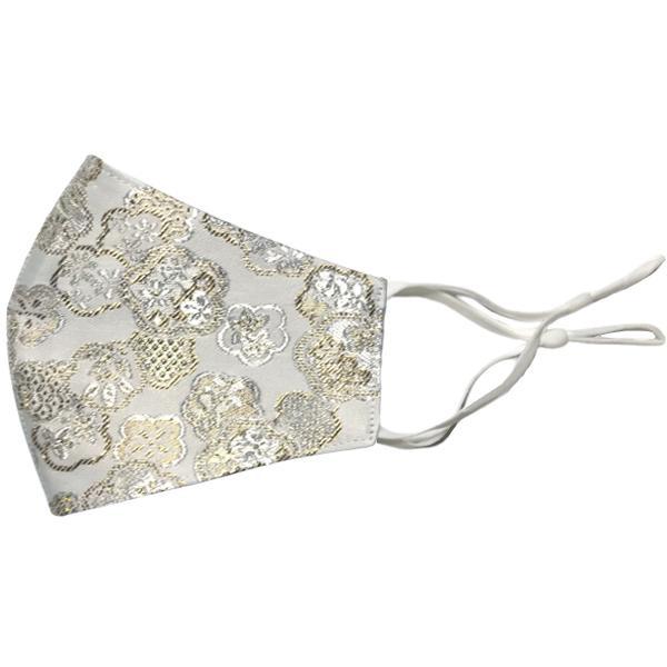 着物の帯のような金襴生地の立体マスク。金糸使いの豪華でおしゃれ、スリムタイプの布マスクです。ウエディング、コスプレ、舞台衣装、和装に。日本製|yume-ribbon|28