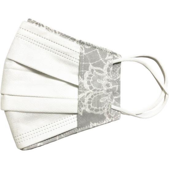 レース調プリント 布マスクカバー 不織布マスクがそのまま使える 繊細なタッチが美しいレース調のリアルなプリント   yume-ribbon 24
