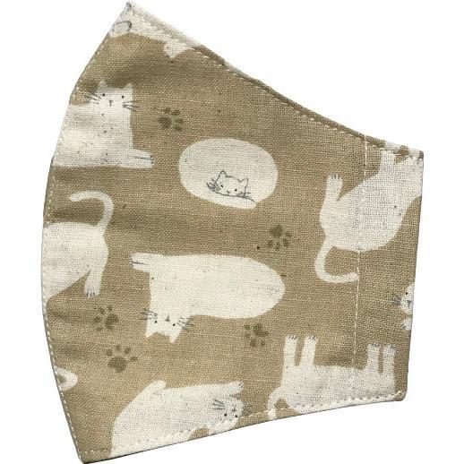 不織布マスクがそのまま使える布マスクカバー 白ネコプリント 肌側に抗ウイルス・抗菌素材使用 猫 日本製 コットン100% yume-ribbon 17