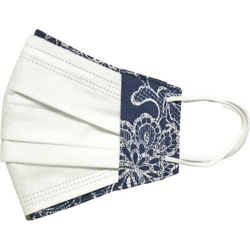 レース調プリント 布マスクカバー 不織布マスクがそのまま使える 繊細なタッチが美しいレース調のリアルなプリント   yume-ribbon 25
