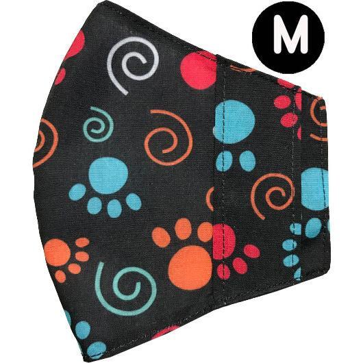 マスクカバー 肉球 ヒョウ柄 夏用薄手ポリエステル 肌側に接触冷感素材のメッシュ使用 不織布マスクを外側につける 市販の大人用M・Lサイズの不織布マスク用 yume-ribbon 18