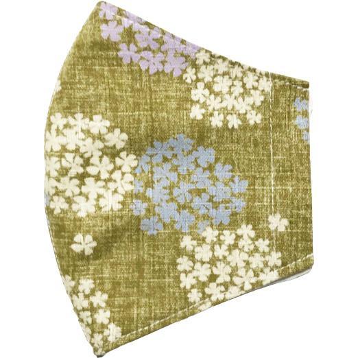 あじさい柄の布マスクカバー 肌側に抗ウイルス・抗菌素材のガーゼもしくは夏用メッシュ選択可 不織布マスクがそのまま使える 高級感を感じるドビー織 日本製|yume-ribbon|24
