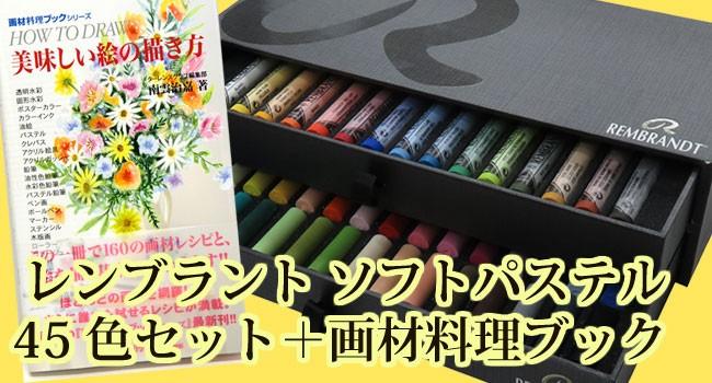 レンブラント ソフトパステル 45色セット 限定セット + 画材料理ブック 美味しい絵の描き方