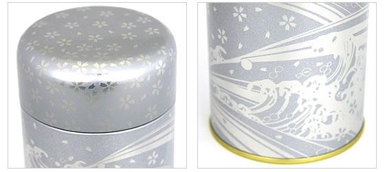 銀缶 フタの桜柄・波模様