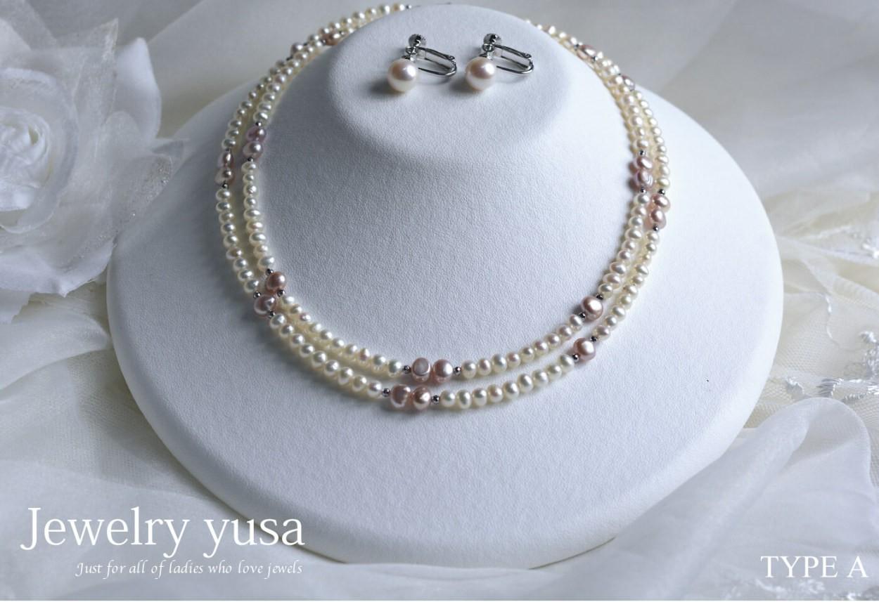 ホワイト&ピンク淡水パールデザインネックレス