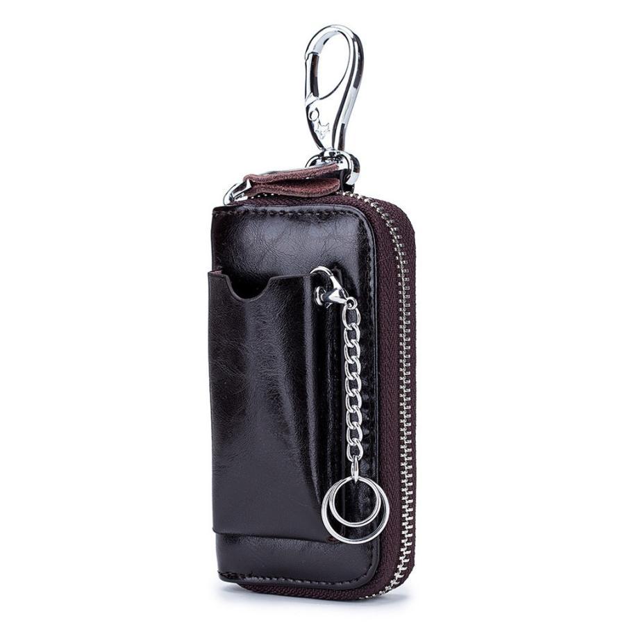 牛革キーケース スマートキーケース 車キー専用ポケット付き ラウンドファスナータイプ スマートキーケース キーケース  鍵 カード 札 6連  得トク セール|zakkaland|15