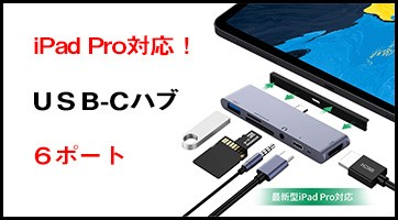 iPad Pro対応 USB Type C ハブ 6in1 hub 4K HDMI PD 急速充電
