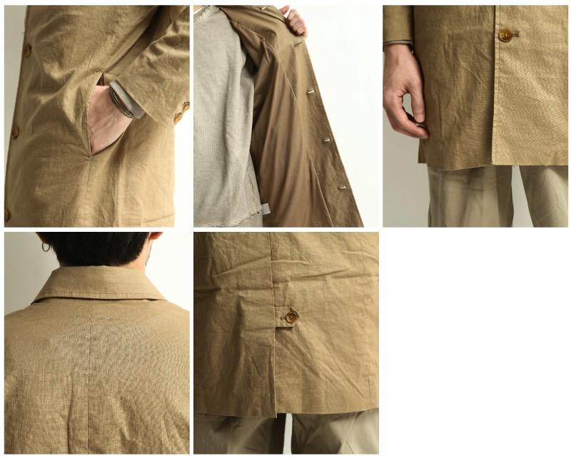 防潑水棉麻長大衣