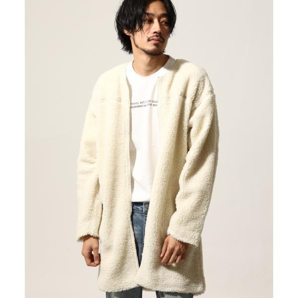 コート メンズ ボア ボアコート ロングコート ロング丈 無地 ノーカラー ブルゾン ファッション (161948br)|zip|14