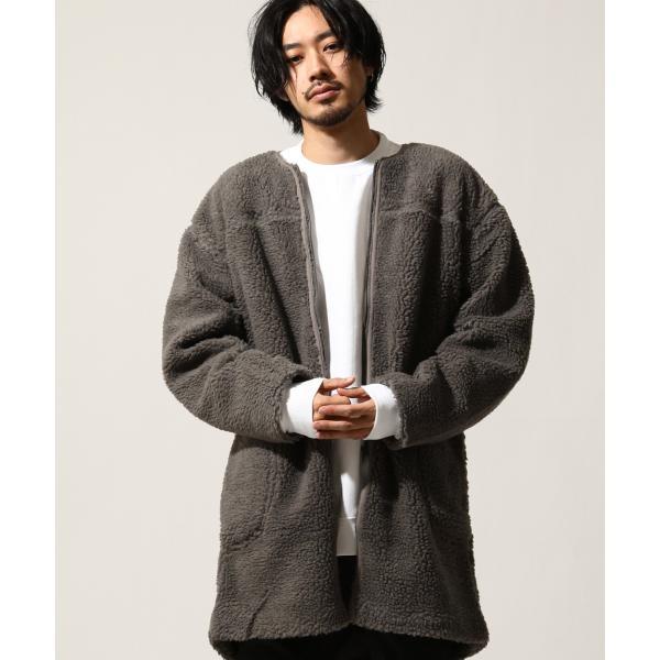 コート メンズ ボア ボアコート ロングコート ロング丈 無地 ノーカラー ブルゾン ファッション (161948br)|zip|15