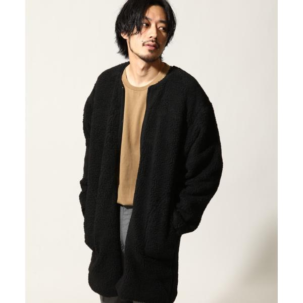 コート メンズ ボア ボアコート ロングコート ロング丈 無地 ノーカラー ブルゾン ファッション (161948br)|zip|16