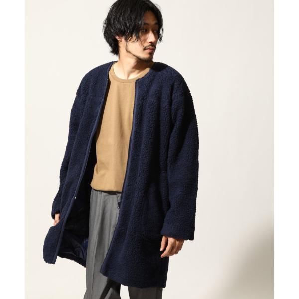 コート メンズ ボア ボアコート ロングコート ロング丈 無地 ノーカラー ブルゾン ファッション (161948br)|zip|17